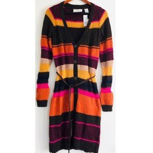 H&M Long Tunic Cardigan Wool Striped Belted XS nwt